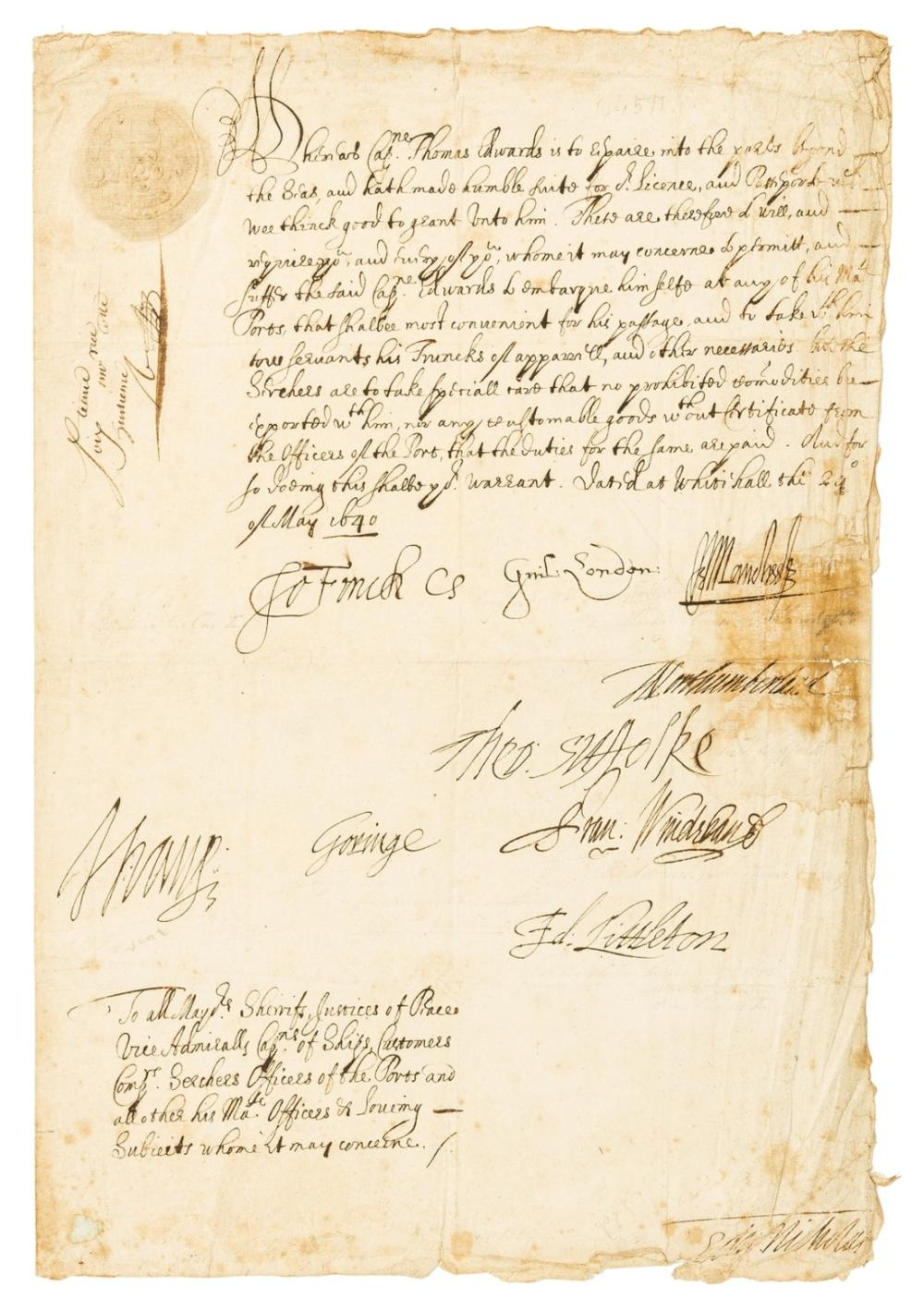 """17th century passport.- Juxon (William, Archbishop of London) Passport made out to Captain Thomas Edwards to travel abroad, Document signed: """"Guil: London"""" as Bishop of London and Lord High Treasurer …"""
