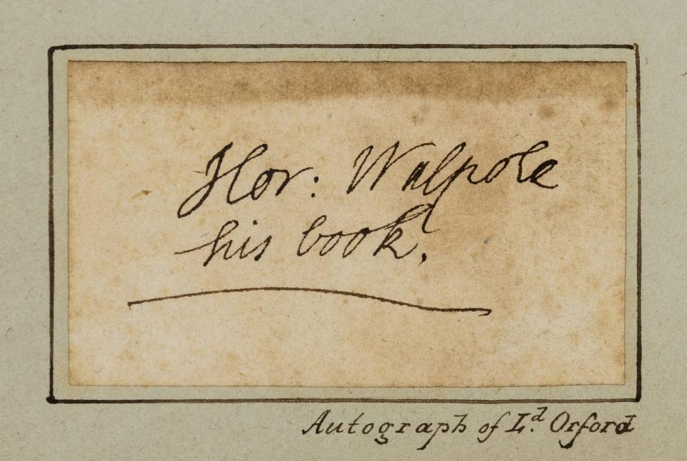 Walpole (Horace) Cut signature, 1780.