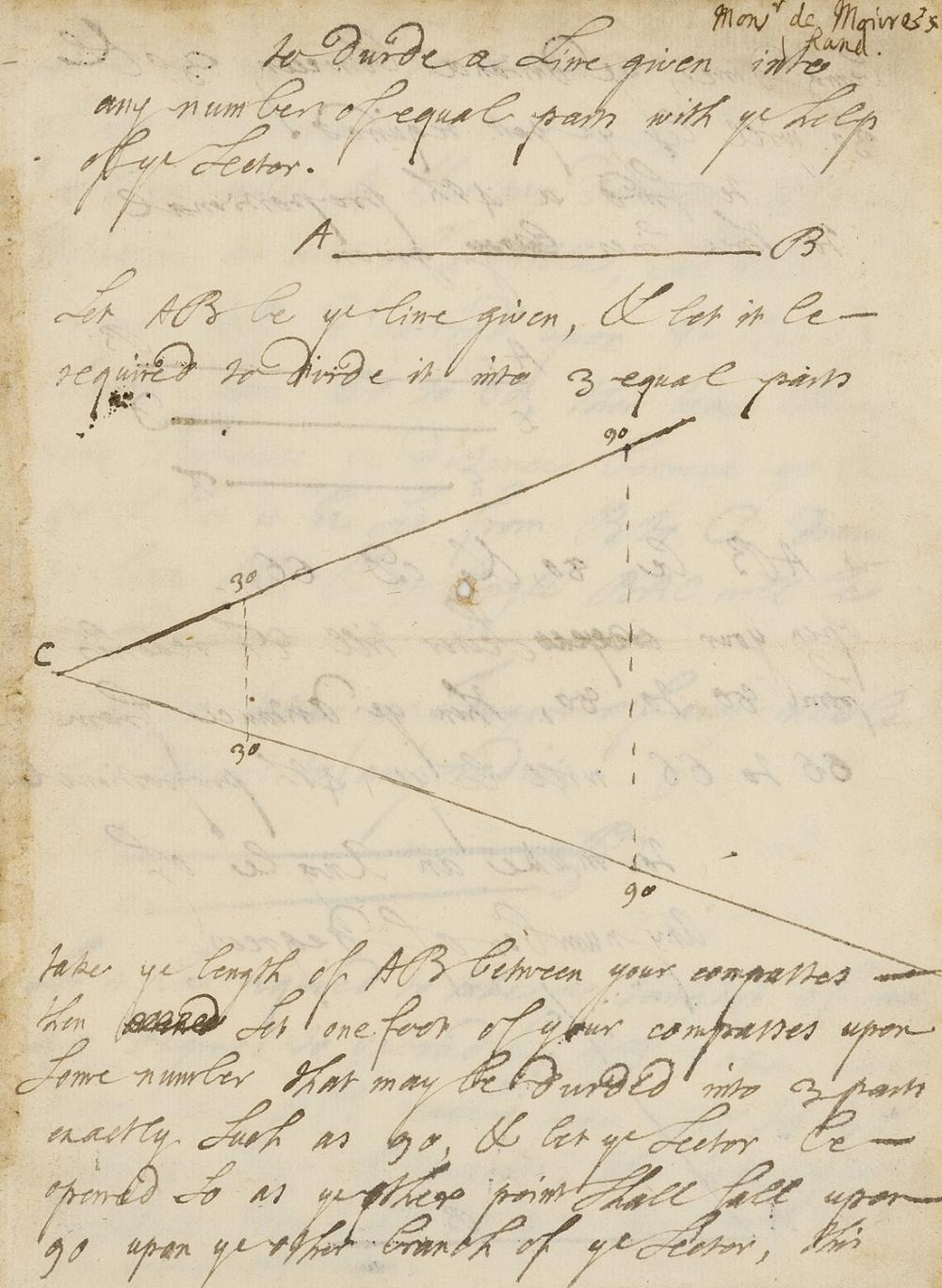 Mathematics.- De Moivre (Abraham) Autograph mathematical manuscript, in English, 5 pen and ink diagrams,[c. 1720].