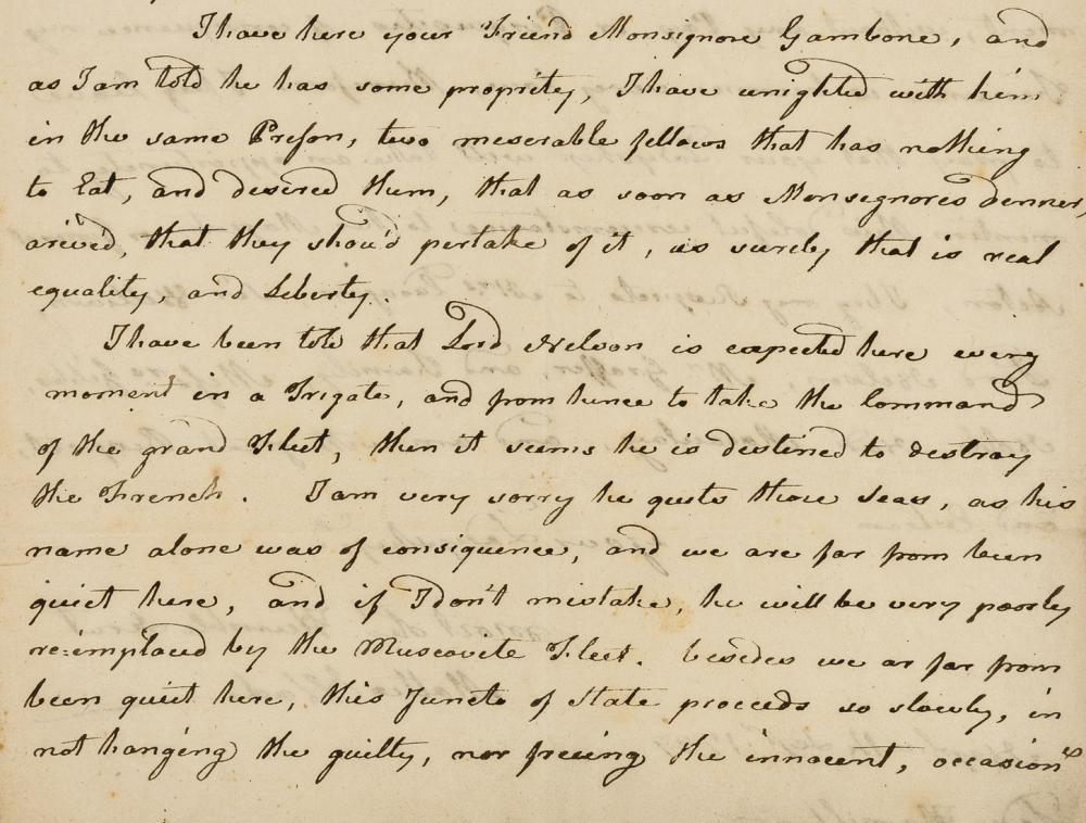 Hamilton (Emma),- Wade (Matteo) 2 Autograph Letters signed to Lady Hamilton, on the situation in Naples and anticipating the arrival of Lord Nelson, 1799.