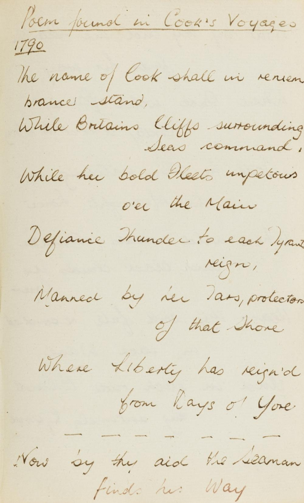 Cook (Captain James) & Arthur O'Connor.- Commonplace bookof poetry and prose, including an unpublished poem on Captain Cook, a poem by the Irish nationalist Arthur O'Connor & a treatise on card …