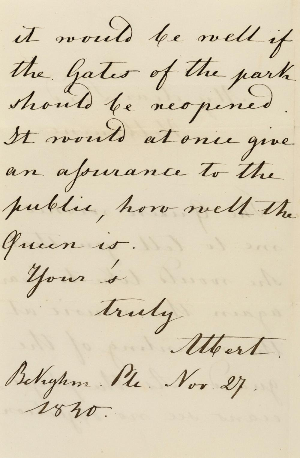 """Albert (Prince Consort) Autograph Letter signed to Lord Melbourne, Buckingham Palace, 27th November 1840, after the birth of her first child Princess Victoria, """"The Queen wishes me to tell you that …"""