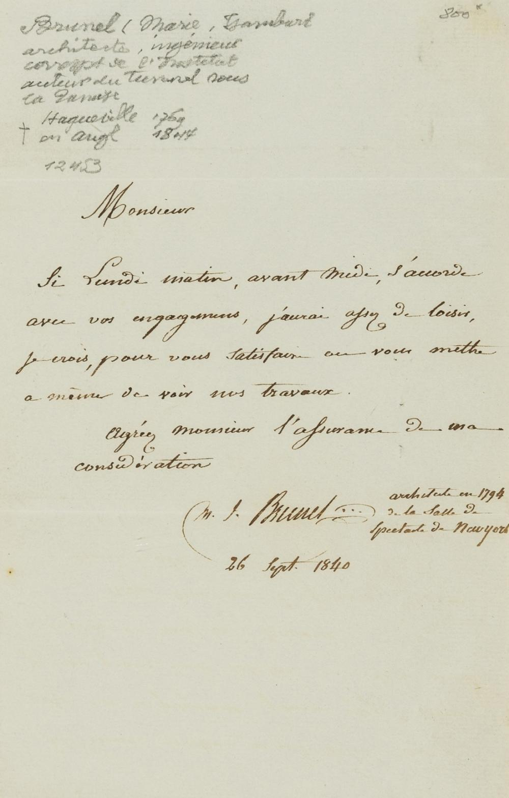 Brunel (Marc Isambard) Autograph Letter signed to M. Charpentie, in French, 1840.