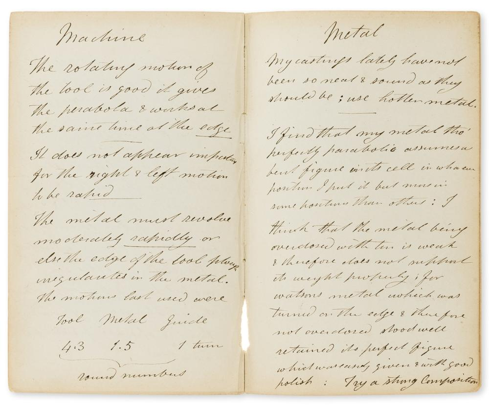 Telescopes etc.- Varley (Cornelius John, maker of astronomical & scientific apparatus) Working Specula, autograph manuscript, 1845-52; and 2 others, comprising:  a scientific note by a member of the …