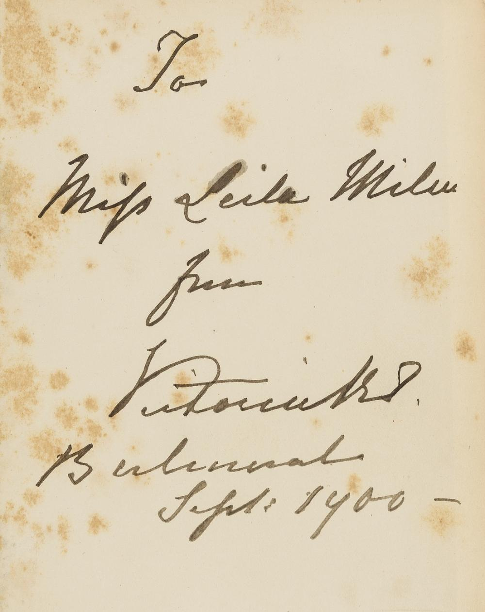 Victoria (Queen) More Leaves from the Journal of a Life in the Highlands, fifth edition, signed presentation copy from Queen Victoria to Miss Leila Milne with her ink inscription on fly-leaf, plates, …
