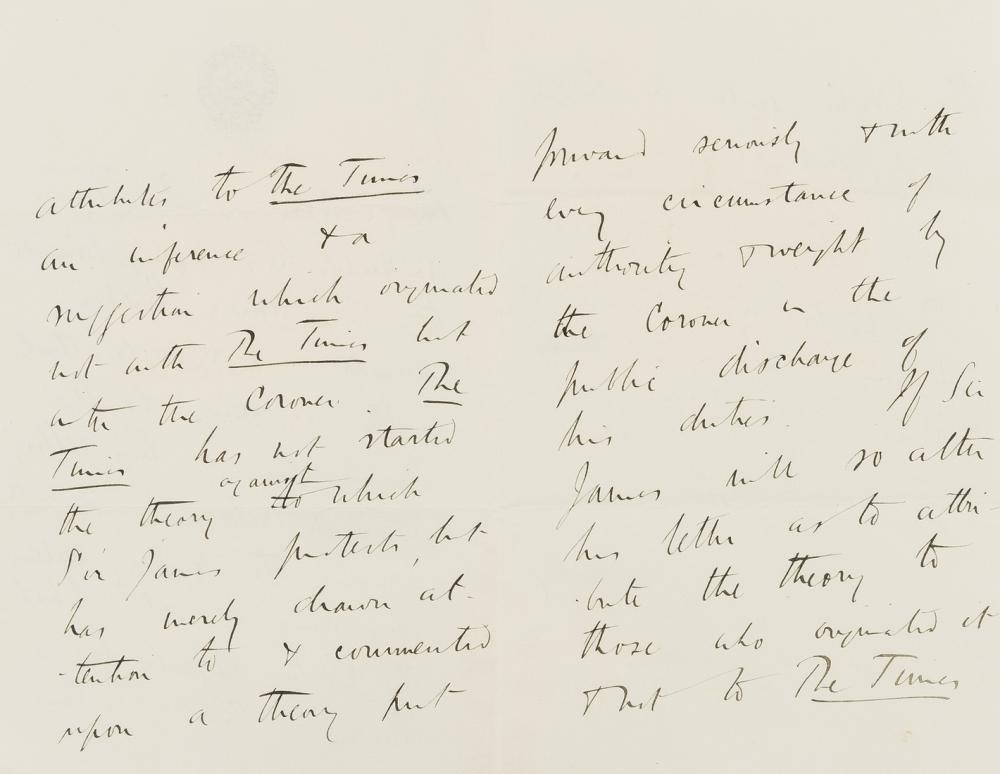 Jack the Ripper.- [Buckle (George Earle)] Autograph Letter third person as editor of The Times to the physician Sir James Risdon Bennett, 1888, returning his letter and with a view to publishing it …