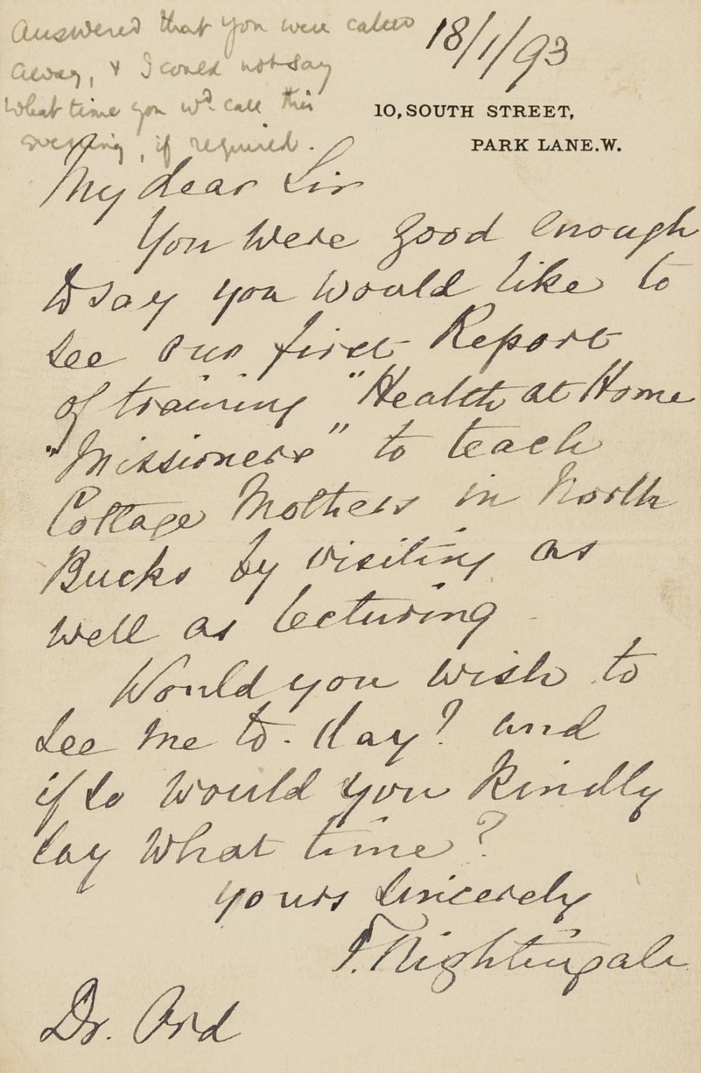 """Nightingale (Florence) Autograph Letter signed to Dr Ord, 1893, """"You were so good enough to say you would like to see our first Report of training 'Health at Home Missioners' to teach Cottage Mothers …"""