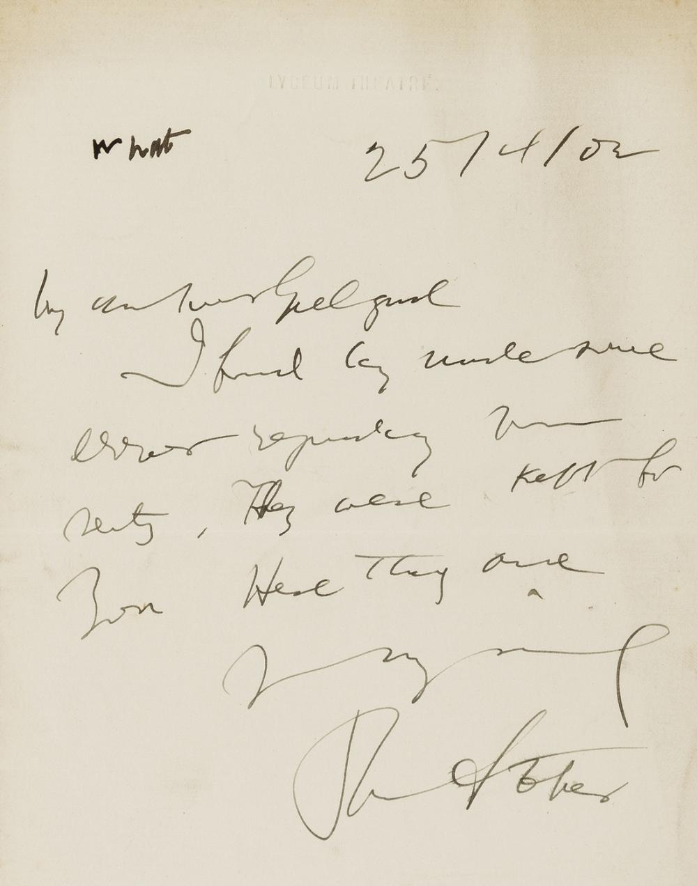 """Stoker (Bram) Autograph Letter signed """"My dear Mr [or ?Mrs] Gielgud"""", Lyceum Theatre, 25th April 1902, """"I find by... some error regarding your seats, they were kept for you. Here they are..."""", 1902."""