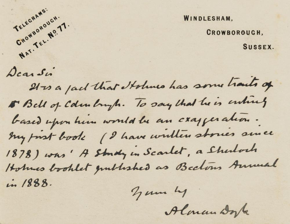 Sherlock Holmes & Dr Watson.- Doyle (Sir Arthur Conan) Autograph Postcard signed to R. Pascoe, Crowborough, Sussex, [c. 1920], on the influence of his mentor Joseph Bell at Edinburgh University …
