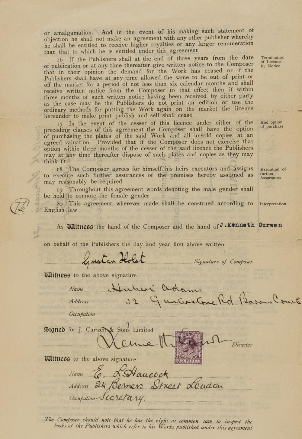 """Holst (Gustav Theodore) Assignment of copyright for his partsong """"Evening Watch""""... Right of Publication, printed with manuscript insertions, 1925; and 7 other pieces of documents relating to Holst's …"""