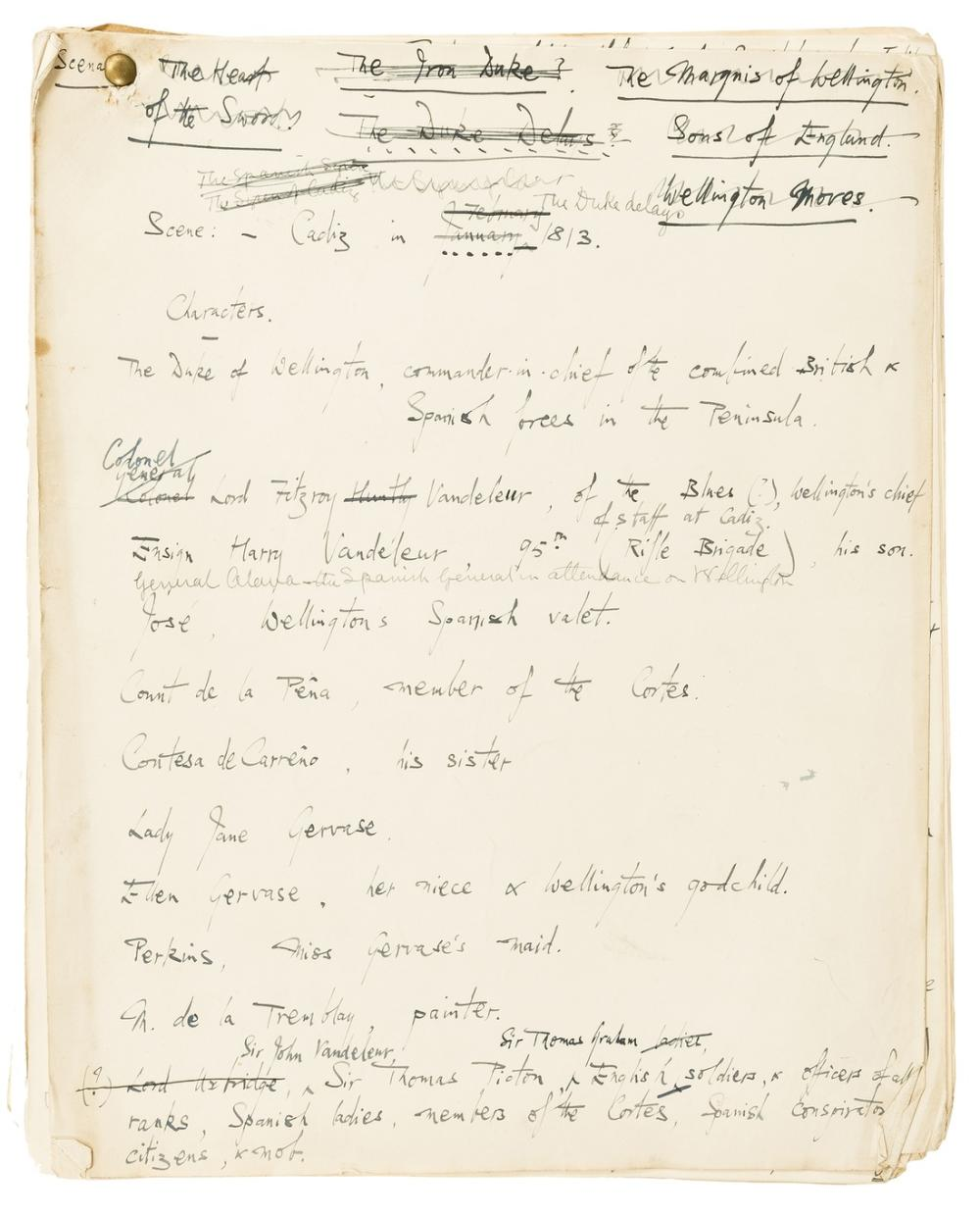 Wellington (Duke of).- Woods (Margaret Louisa) & Sir John Pollock. Wellington A Play in Four Acts, [earlier title] The Duke Delays, autograph manuscript by ?Pollock with ?Woods corrections, [c. …