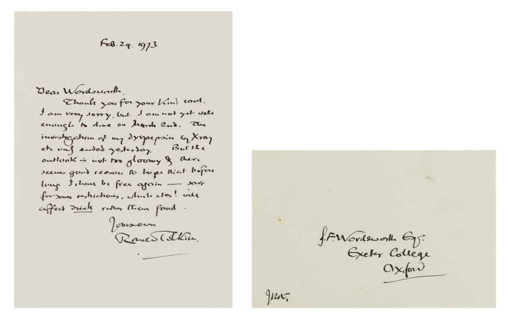 """Tolkien (J.R.R.) Autograph Letter signed """"Ronald Tolkien"""" to Jonathan Fletcher Wordsworth, envelope initialled """"JRRT"""", 1973; and a copy of the printed funeral service for Tolkien in Merton College …"""