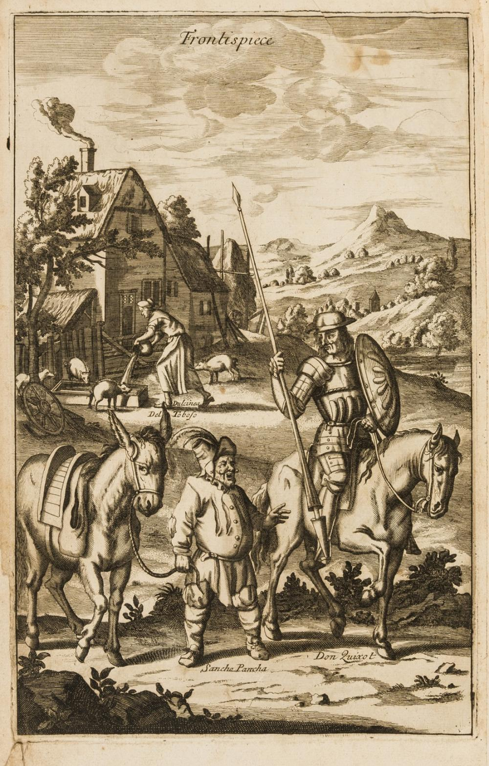 Cervantès Saavedra (Miguel de) The History Of the most Renowned Don Quixote of Mancha, first illustrated edition in English, by Tho. Hodgkin, and are to be sold by John Newton, 1687.