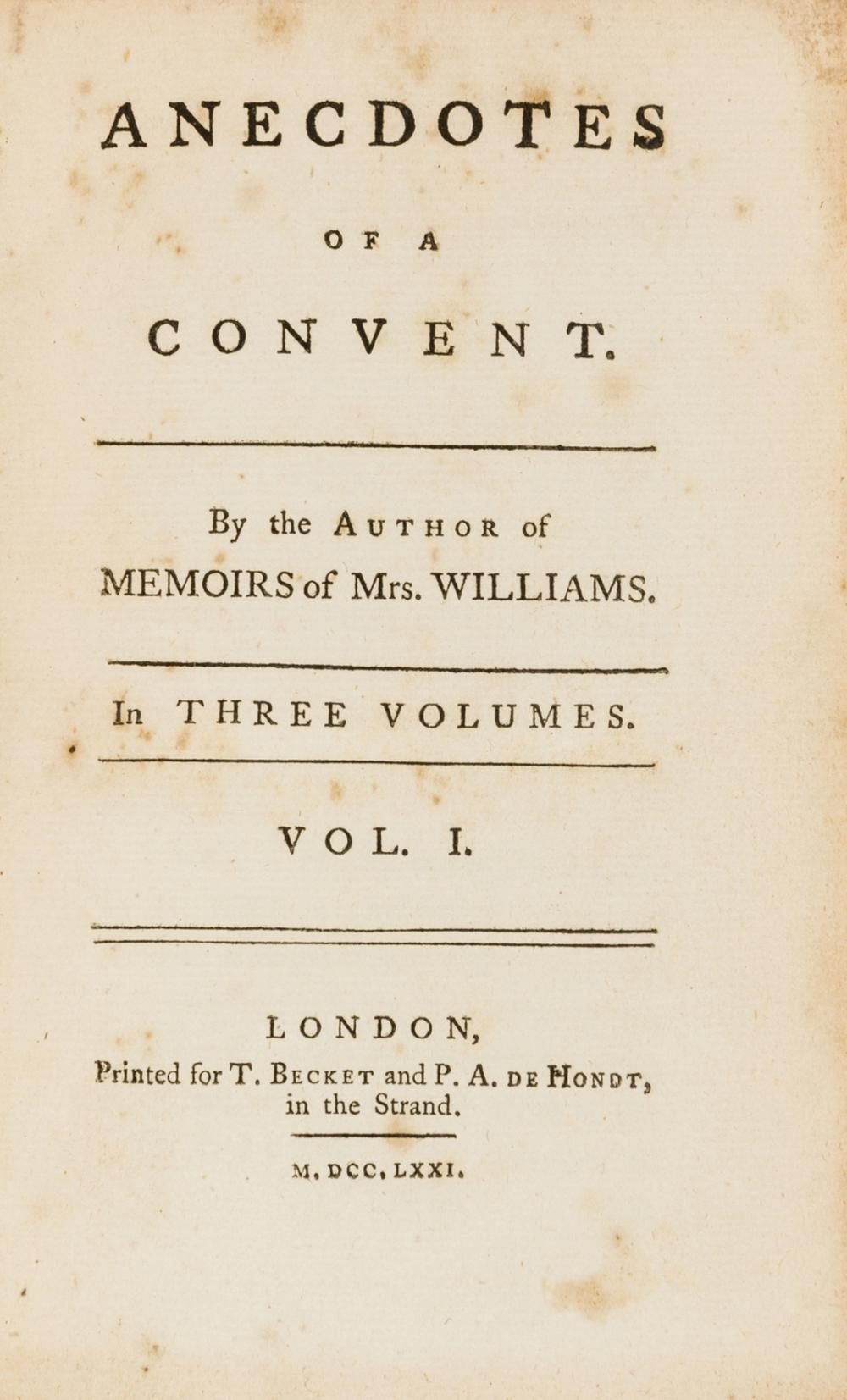 Lesbianism in a convent.- , Anecdotes of a convent. By the author of Memoirs of Miss Williams, 3 vol., first edition, T. Becket and P.A. de Hondt, 1771.