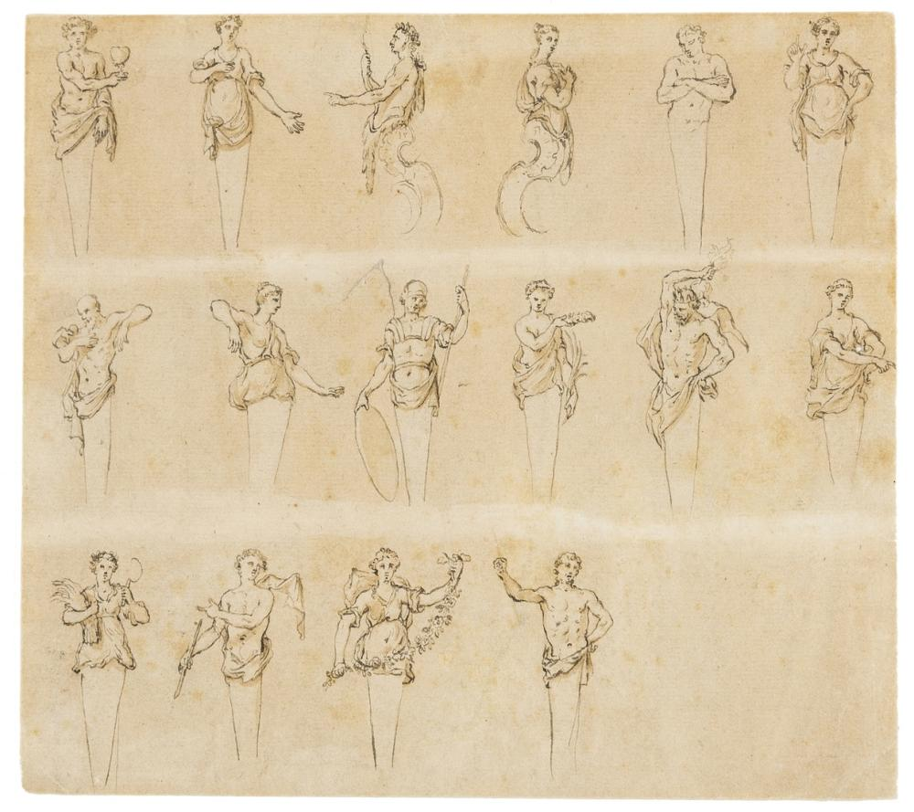 Gravelot (Attributed to Hubert-Francois, 1699-1773) Studies of Herms, pen and ink