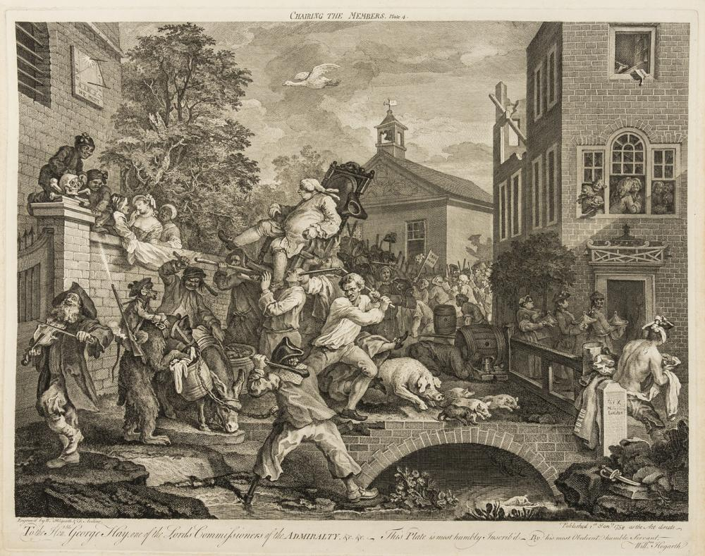Hogarth (William) A fine collection of 87 etchings and engravings by and after William Hogarth, [printed circa 1760-1800, compiled late 18th early 19th century]