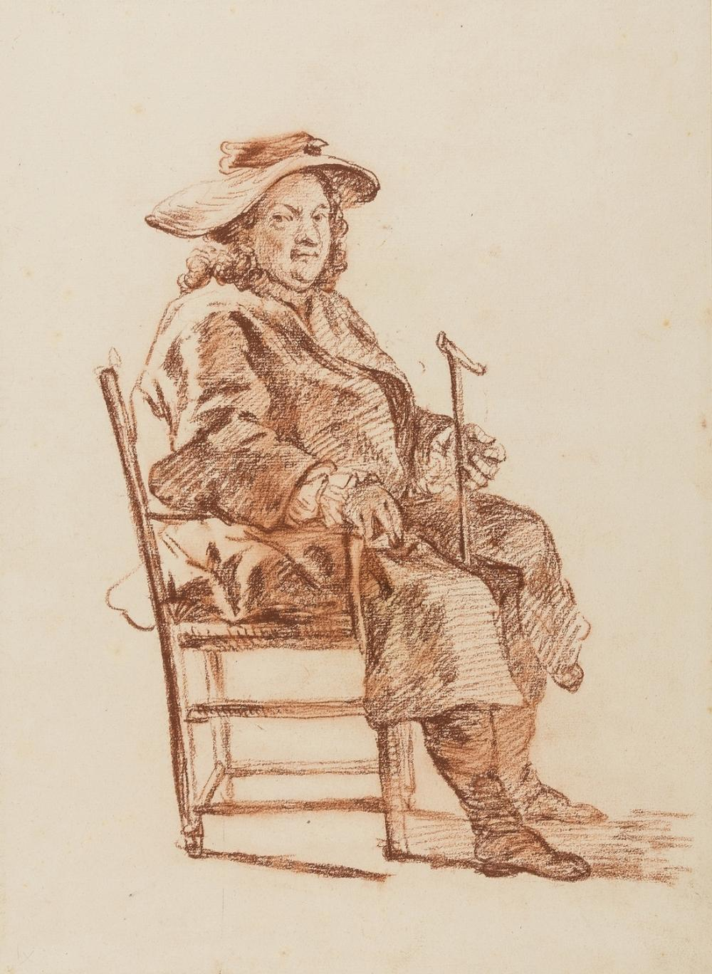 Hogarth (Follower of William, 1697-1764) Portrait of seated gentleman wearing travelling clothes and holding a walking stick.