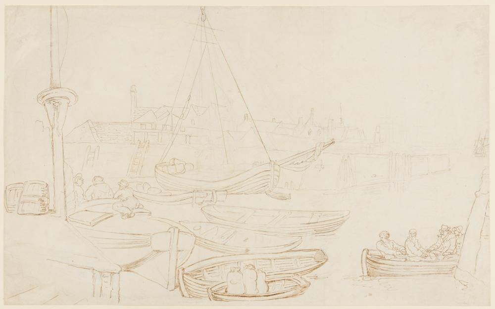 Rowlandson (Thomas, 1756-1827) Harbour scene with men in rowing boats, pen and brown ink over pencil