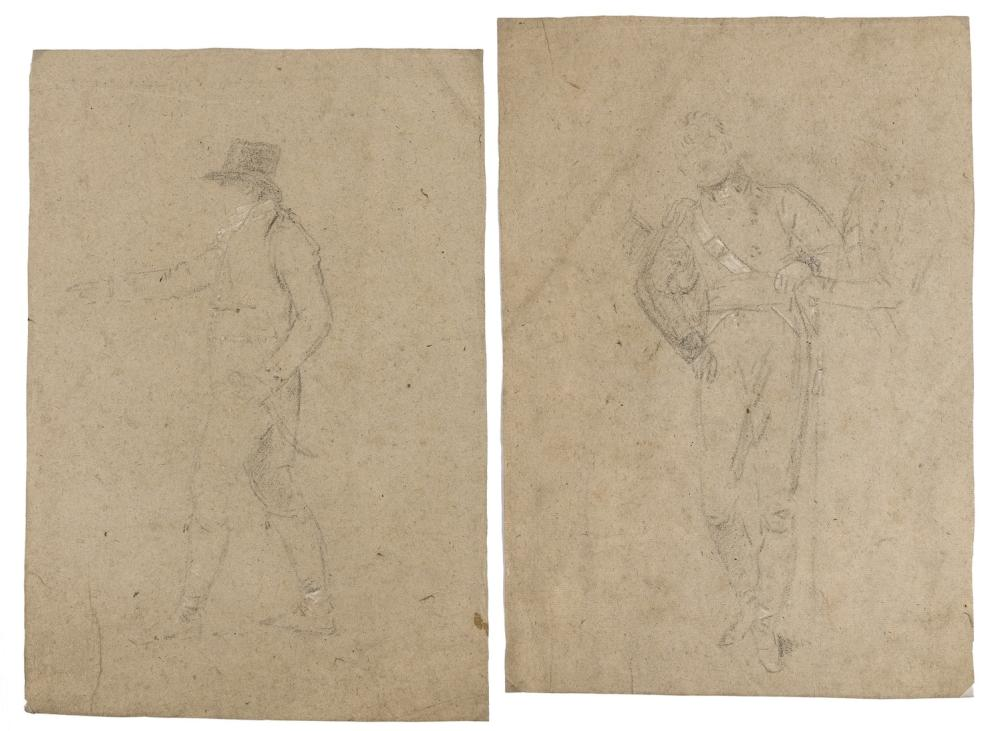 West (Benjamin, 1738-1820) Two studies for the 'The Death of Nelson', black chalk, [circa 1805-1806] (2)