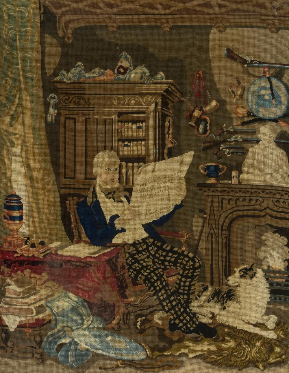 [Scott (Sir Walter)] Portrait, seated in his study at Abbotsford, fine-gauge needlepoint in wool, c. 1840