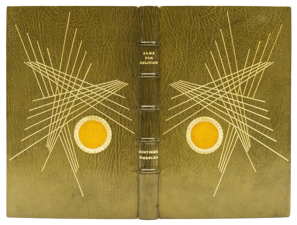Matthews (William, binder).- Wheeler (Mortimer) Alms for Oblivion: An Antiquary's Scrapbook, inscribed by the author, bound in olive-green goatskin by Matthews, 1966.