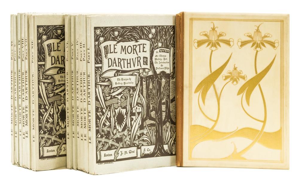 Beardsley (Aubrey).- Malory (Sir Thomas) [Le Morte Darthur] The Birth, Life and Acts of King Arthur, 2 vol. in 12 original parts, one of 300 copies on handmade paper, 1893 & Portfolio (3)
