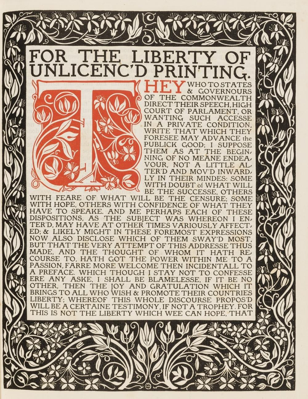 Eragny Press.- Milton (John) Areopagitica: A Speech...for the Liberty of Unlicenc'd Printing, to the Parliament of England, second issue, one of 160 copies, 1904.