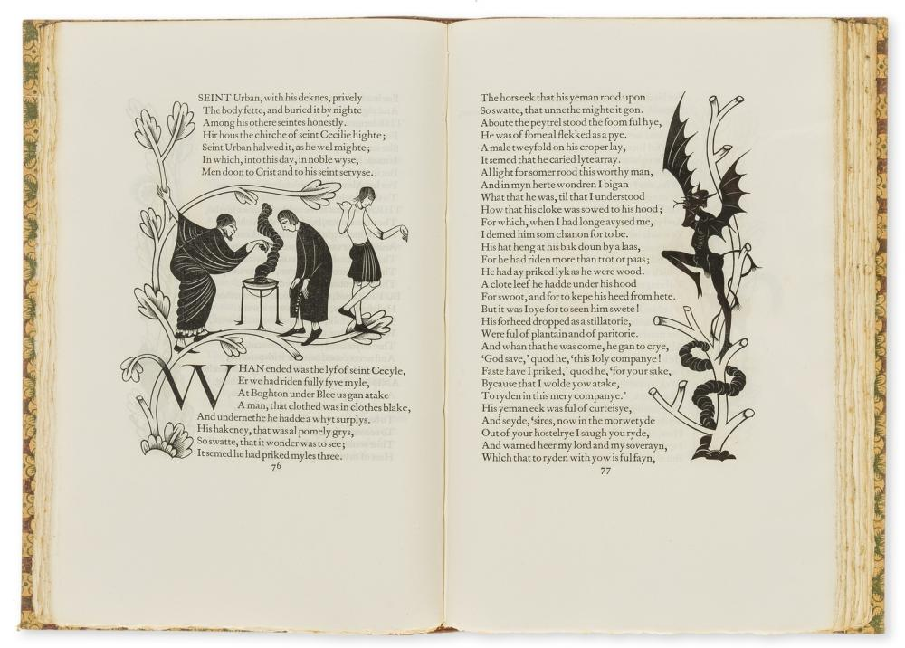 Golden Cockerel Press.- Chaucer (Geoffrey) The Canterbury Tales, 4 vol., one of 485 copies, wood-engravings by Eric Gill, Waltham St.Lawrence, 1929.