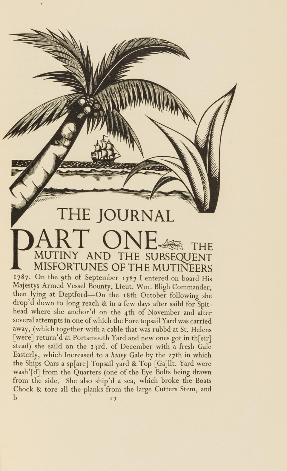 Golden Cockerel Press.- Morrison (James) The Journal...Boatswain's Mate of The Bounty, one of 325 copies, wood-engravings by Gibbings, 1935 & 2 others, similar, from the press (3)