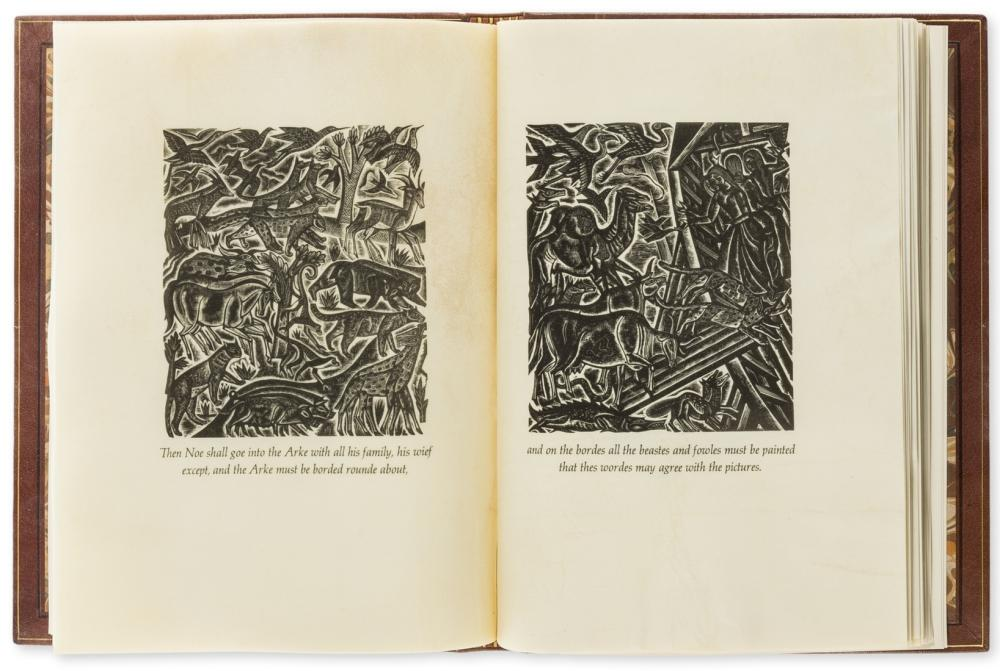 Jones (David).-  Chester Play of the Deluge (The), one of 7 copies on vellum with 3 additional suites of engravings, Cambridge, Rampant Lions Press for Clover Hill Editions, 1977.