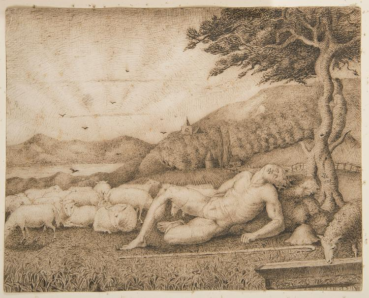 Richmond (George), Follower of. Abel the Shepherd resting in a landscape with his flock