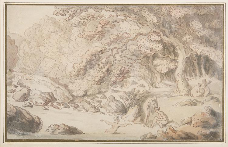 Rowlandson (Thomas), Nymphs bathing in a woodland river
