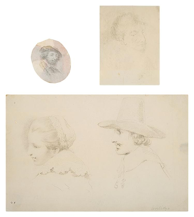 Worlidge (Thomas), Study of the Heads of a Woman and a Man in Dutch Costume.