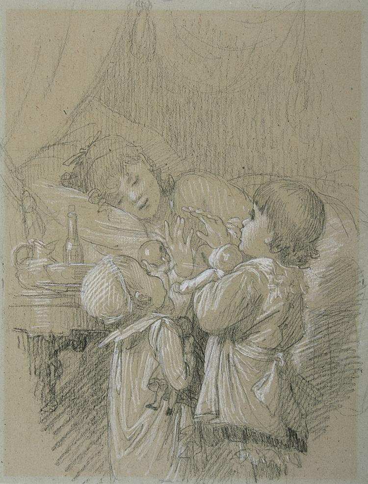 Lobrichon (Timoléon Marie), Two children waking their Mother from sleep.