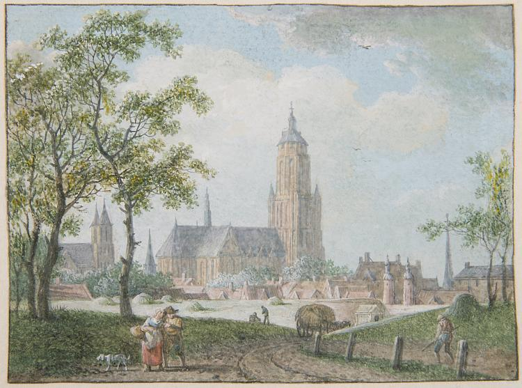 Meijer  (Hendrick de), View of Arnhem, with peasants on a footpath and the Cathedral beyond.