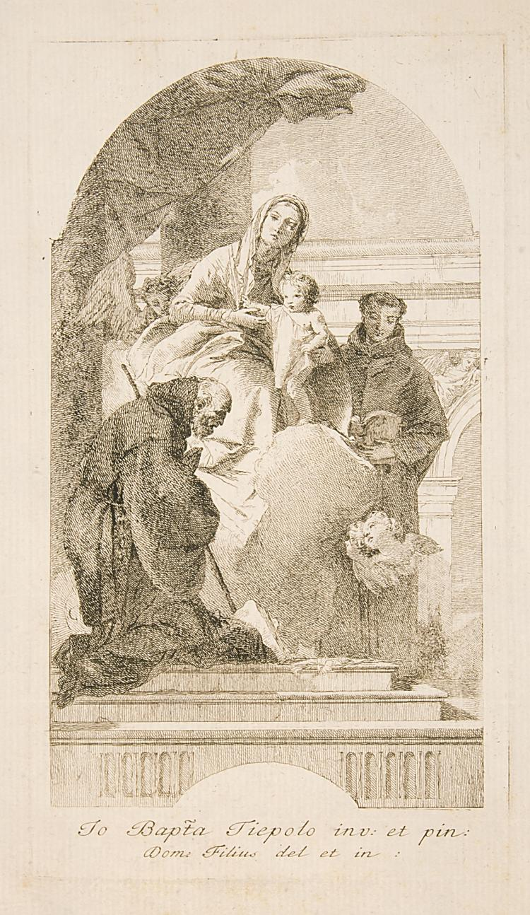 Tiepolo (Giovanni Domenico, 1727-1804), The Virgin and Child with St. Francis of Paola and St. Anthony of Padua, circa 1760.