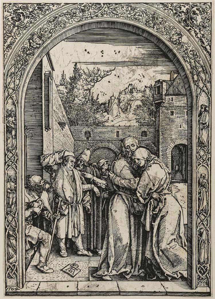 Dürer (Albrecht), Joachim and Anna at the Golden Gate, from: The Life of the Virgin.