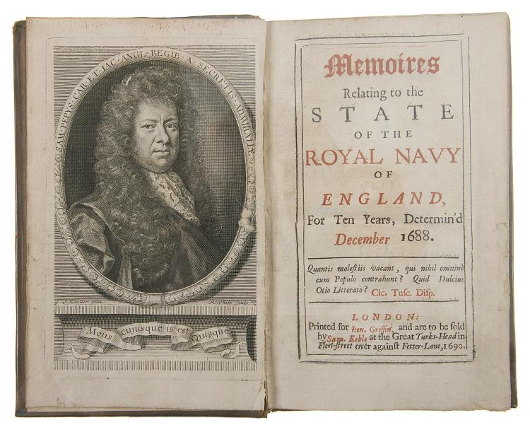 [Pepys (Samuel)] Memoires Relating to the State of the Royal Navy of England, first edition, 1690.