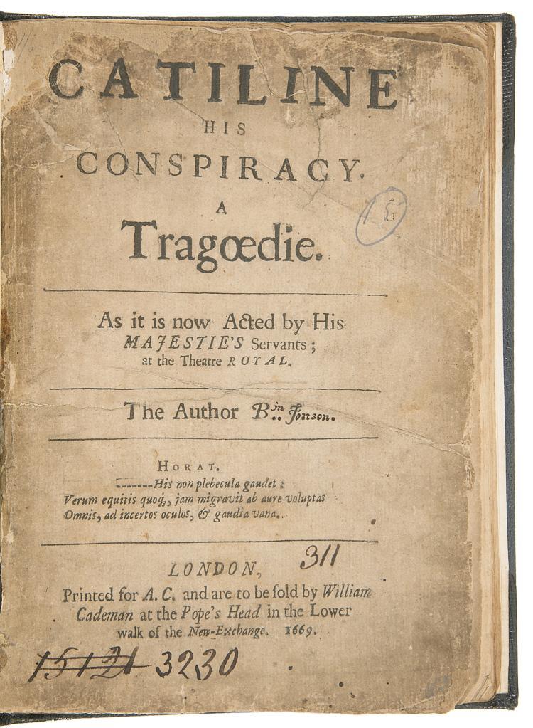 Jonson (Ben) Catiline his Conspiracy. A Tragœdie, 1669.