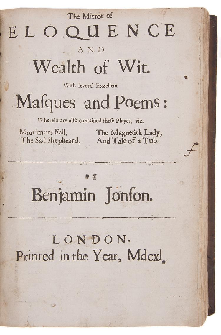 Jonson (Ben) The Workes, with rare title page to vol.3, 1640.