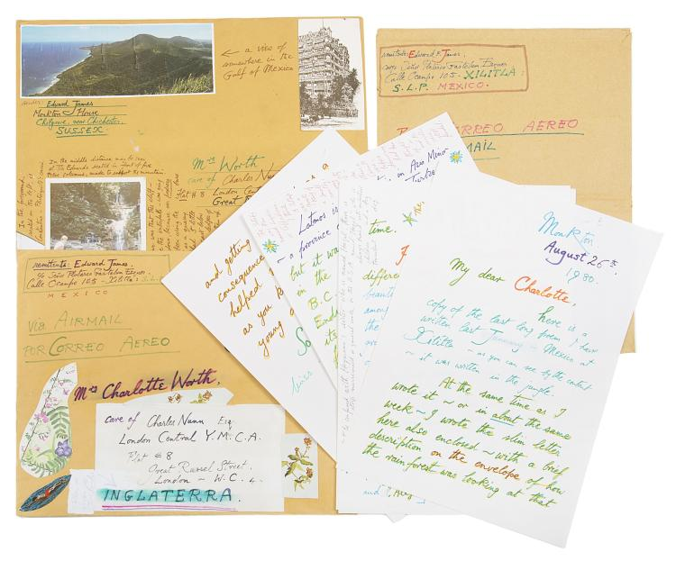 James (Edward, art patron, 1907-84), Archive of 24 letters, envelopes and notes, 6 photographs, and 3 pamphlets of poetry to his Secretary Charlotte Worth, correspondence 100pp., v.s., 18th October 1979 - 10th July 1980 & n.d., on a variety of subjects, mentioning Christopher Isherwood, Aldous Huxley, Dali etc., (qty in 2 boxes).