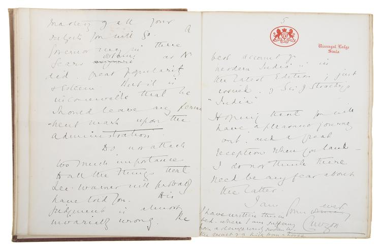 Curzon (George Nathaniel), Collection of 38 Autograph Letters, some signed, to Charles Wallace Alexander Cochrane-Baillie, second baron Lamington, Governor of Bombay, 263pp., 8vo & 4to, mostly on his time as Viceroy of India, 1903-07.