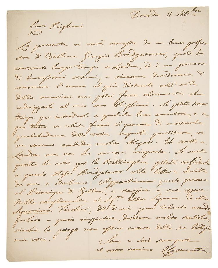 Music.- Clementi (Muzio), Autograph Letter signed to Vincenzo Righini, 1p. with conjugate blank and address panel, in Italian, sm. 4to, 11th September [1803], introducing George Bridgetower, folds, slightly browned..