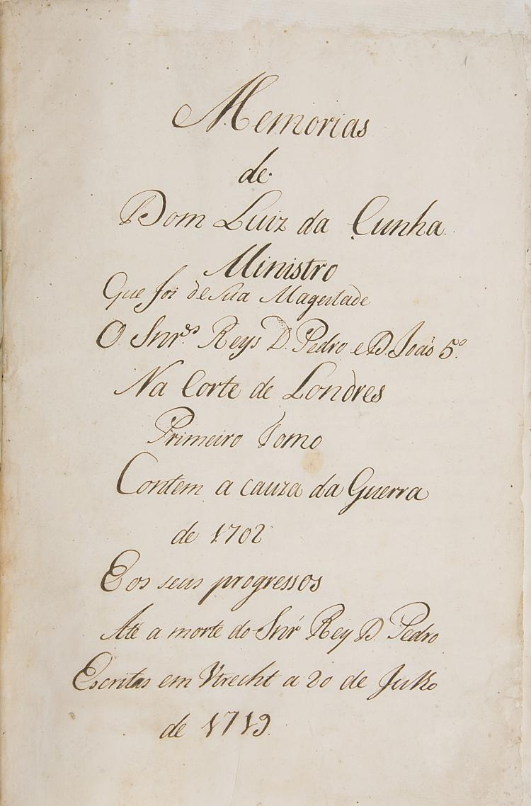 Portugese Diplomat.- Cunha (Luis da), Memorias, 2 parts only of 4, manuscript in Portugese, titles and c. 599pp., slightly browned, some staining towards end, new endpapers, modern calf, gilt, folio, [c. 1750].