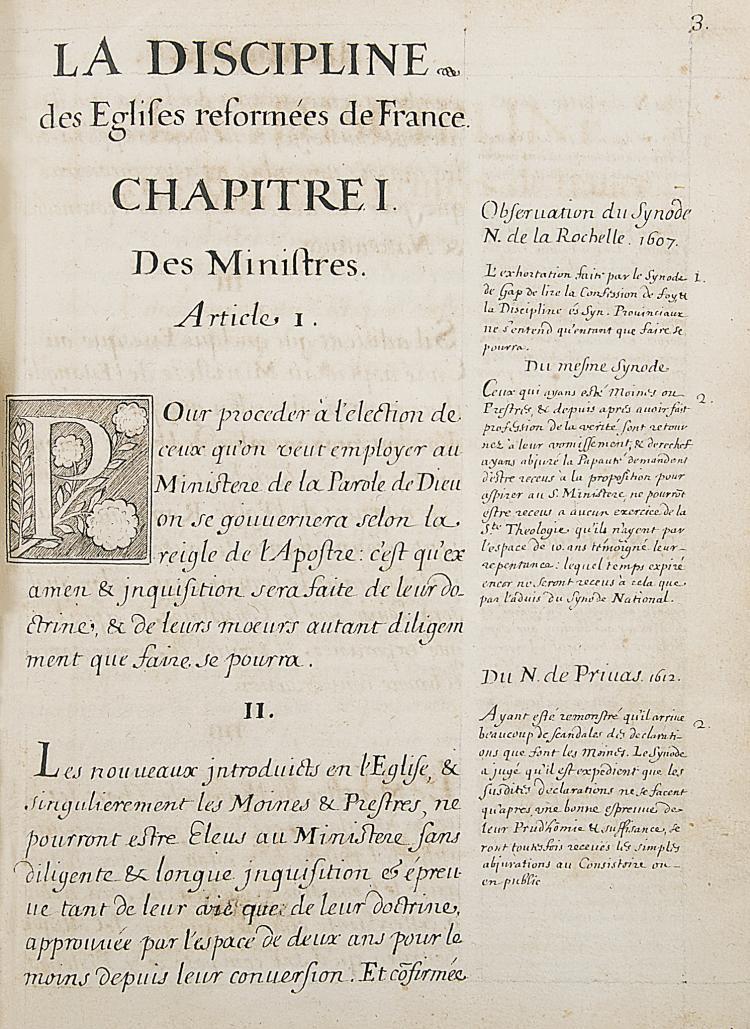 Huguenots.- La Discipline des Eglises reformées de France, 1652.