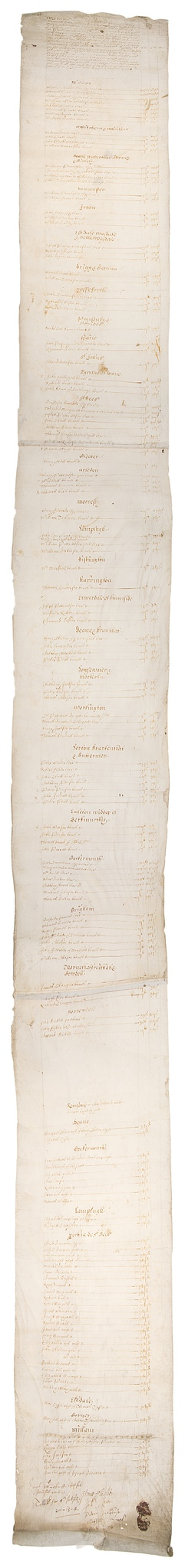 Cumberland.- Subsidy Roll, manuscript in English, on vellum, some marks, c. 2040 x 220mm., 15th April1641.