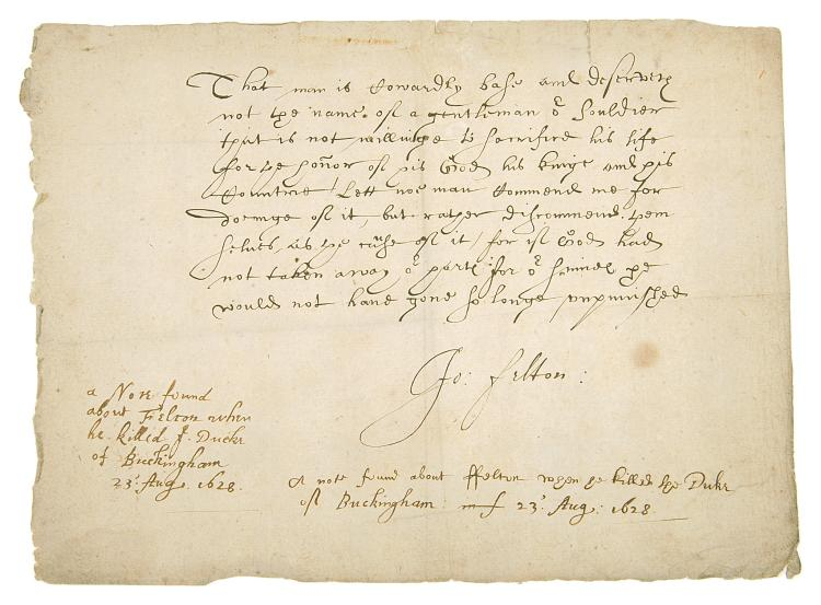 17 century.- Felton (John) Statement of his reasons for stabbing the Duke of Buckingham to death, copy manuscript, 150 x 204mm., 1628.