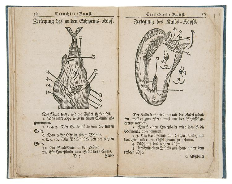 Cookery.- Carving manual.- Vollkommene und Neueste trenchier-Kunst, 1769.
