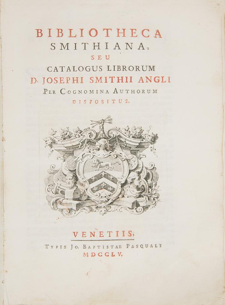 Library catalogue.- Smith (Joseph) Bibliotheca Smithiana, seu Catalogus Librorum D. Josephi Smithii Angli per cognomina authorum dispositus, 1755.
