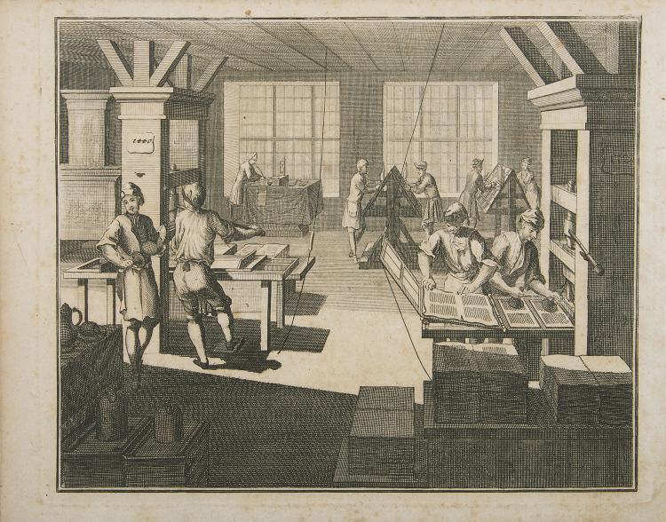 Printing.- [Ernesti (Johann Heinrich Gottfried)] Die Wol-eingerichtete Büchdrückerey, eng. frontispiece, type specimens, Nuremberg, 1733.